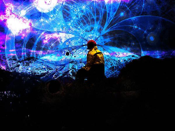 Bones Poster featuring the digital art Space Watcher by Bear Welch
