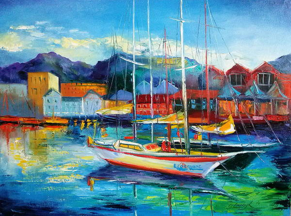 Spain Boats Poster featuring the painting Spain Boats by Olha Darchuk