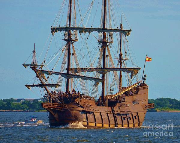Blue Poster featuring the photograph Spanish Galleon by Bob Sample