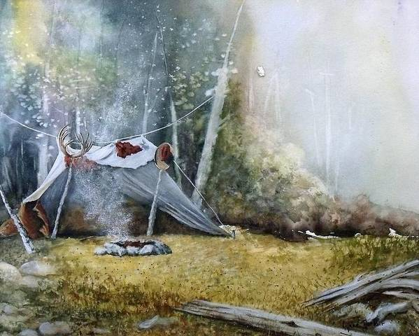 Tent Poster featuring the painting Spike Camp by Lynne Parker