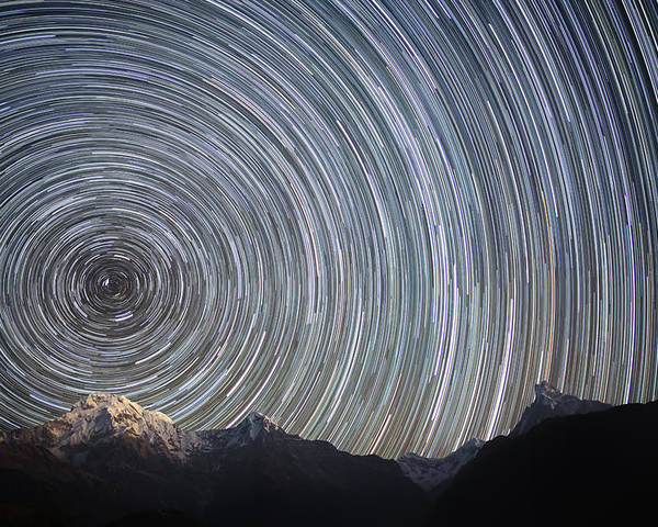 Horizontal Poster featuring the photograph Spinning Stars Above Himalayas by Anton Jankovoy