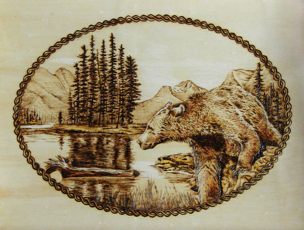Grizzly Poster featuring the pyrography Spirit Bear by Chris Wulff