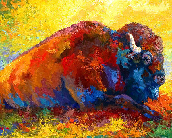 Wildlife Poster featuring the painting Spirit Brother - Bison by Marion Rose