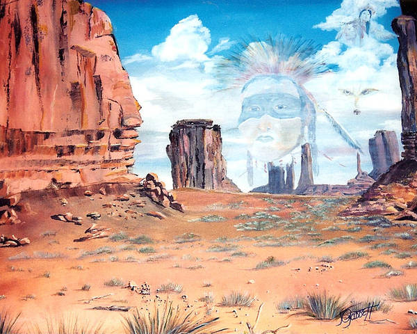 Native American Poster featuring the painting Spirit In The Wind by Joan Gossett