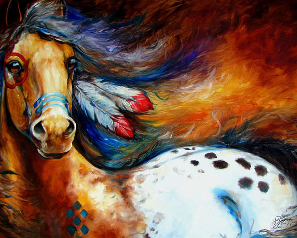 Horse Poster featuring the painting Spirit Indian Warrior Pony by Marcia Baldwin