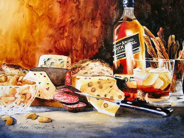 Scotch Poster featuring the painting Spirited Indulgences by Karen Stark