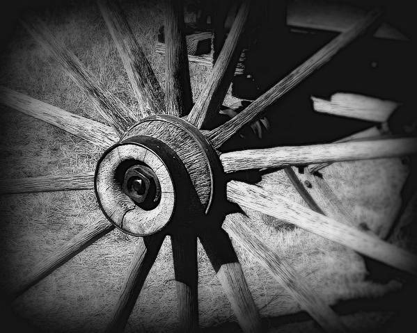 Wagon Poster featuring the photograph Spoked Wheel by Perry Webster