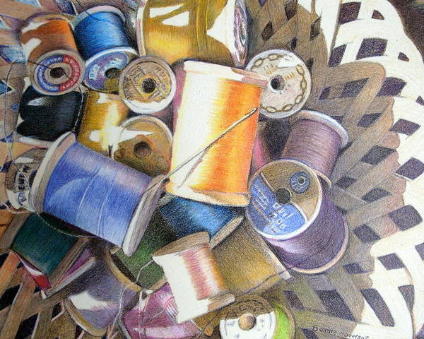 Still Life Poster featuring the painting Spools by Bonnie Haversat