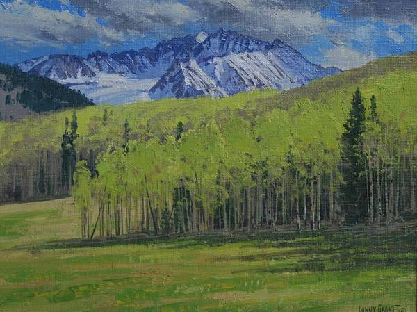 Landscape Poster featuring the painting Spring Aspen by Lanny Grant