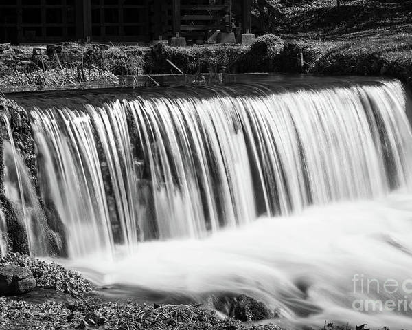 Action Poster featuring the photograph Spring Falls At Hodgson Grayscale by Jennifer White