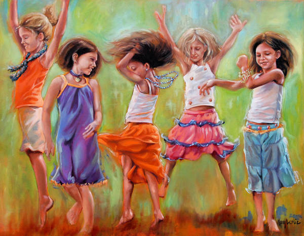 Dancing Girls Poster featuring the painting Spring Fever by Mary Leslie