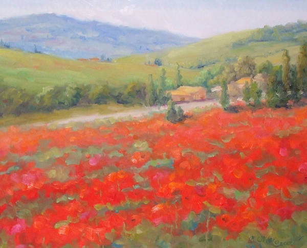 Landscape Poster featuring the painting Spring In Tuscany by Bunny Oliver