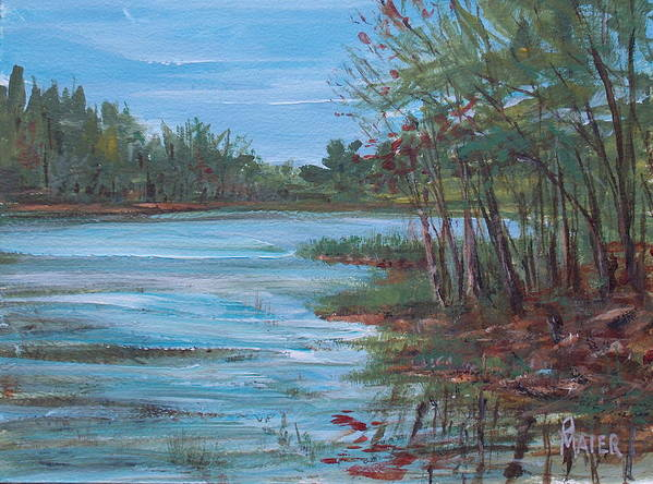 Landscape Poster featuring the painting Spring Lake by Pete Maier