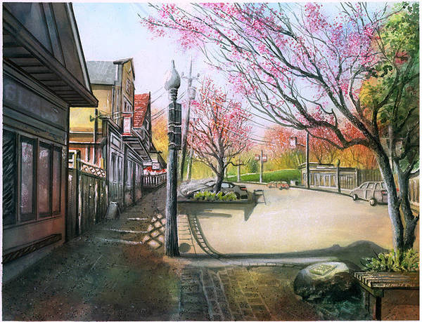 Landscape Poster featuring the painting Spring On Clarke Street Port Moody by Dumitru Barliga