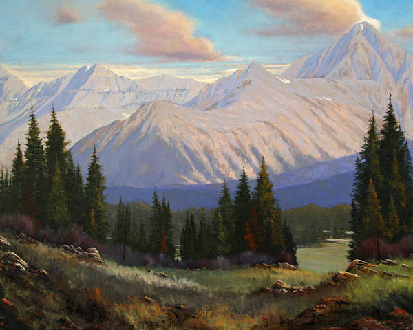 Landscape Poster featuring the painting Spring On The Dallas Divide 070809-3624 by Kenneth Shanika