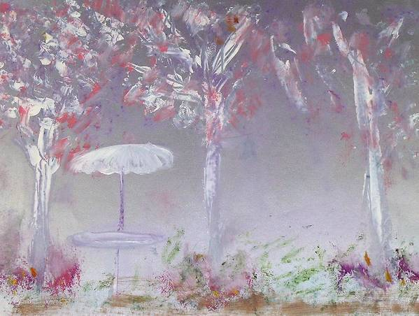 Abstract Poster featuring the painting Spring On The Patio by Michela Akers