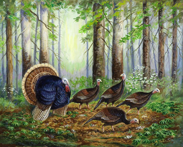 Wildlife Painting Poster featuring the painting Spring Ritual by Michael Scherer