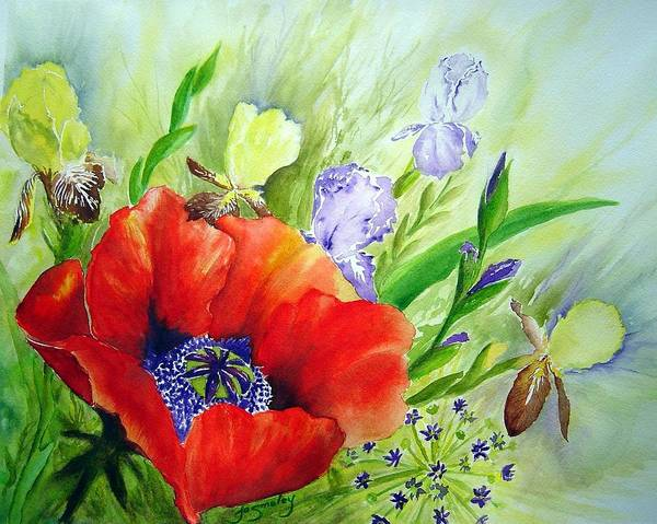 Poppy Iris Floral Painting Poster featuring the painting Spring Splendor by Joanne Smoley