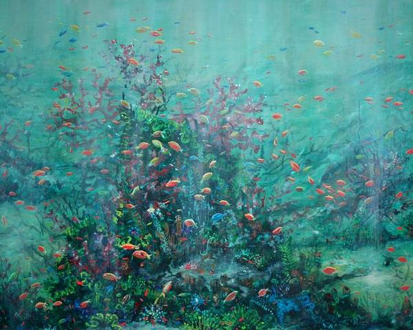 Unaderwater Paintings Poster featuring the painting Spring Underwater  by Ana Bikic