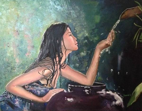Asian Poster featuring the painting Spring Water by Roxana Gonzales