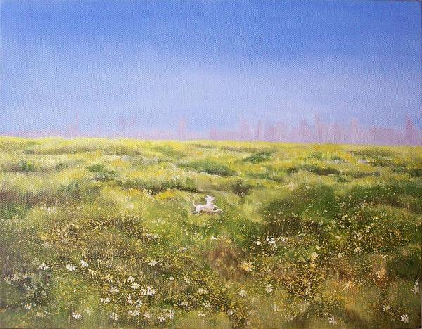 San Diego Skyline Poster featuring the painting Springtime At Fiesta Island by Irene Corey