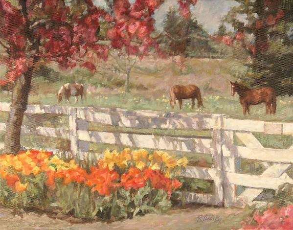 Horse Poster featuring the painting Springtime Horses by Robert Tutsky