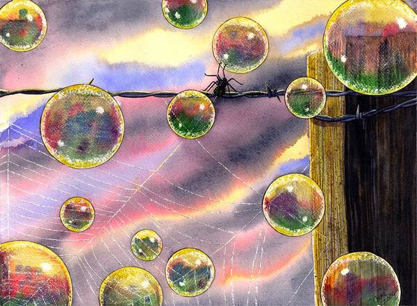Bubbles Poster featuring the painting Spyder by Catherine G McElroy
