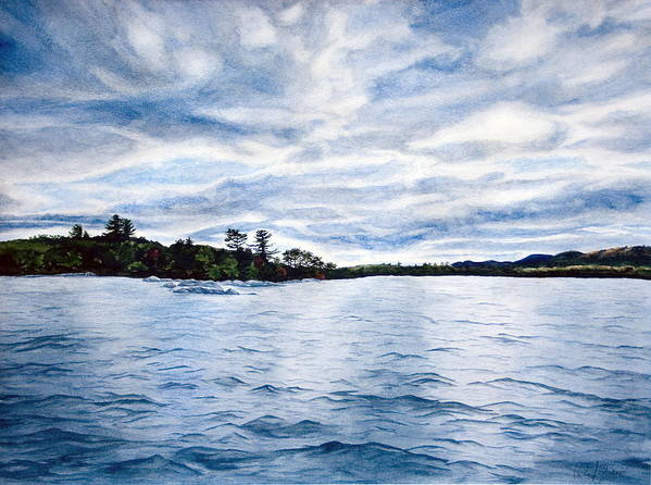 Seascape Poster featuring the painting Squam Lake by Monika Degan