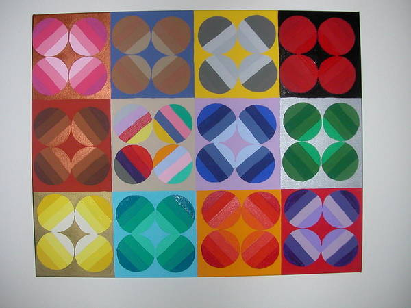 Multi Colored Circles On Squares Poster featuring the painting Square Dancing by Gay Dallek