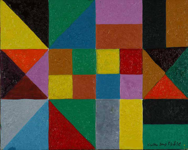 Grometric Squares Triangles Colours Poster featuring the painting Squares And Triangles by Harris Gulko