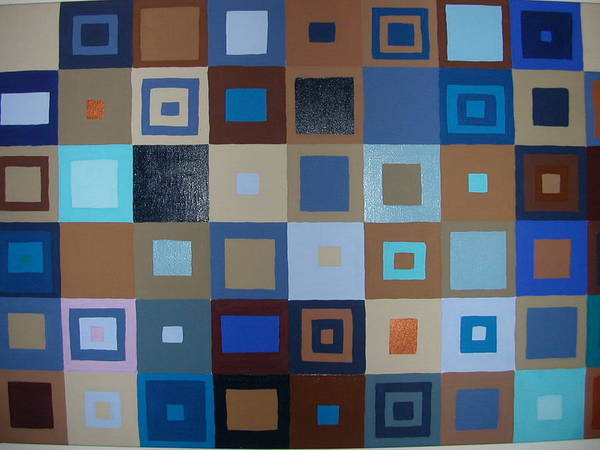 Shades Of Brown And Blue Squares Painting Poster featuring the painting Squares Have It by Gay Dallek