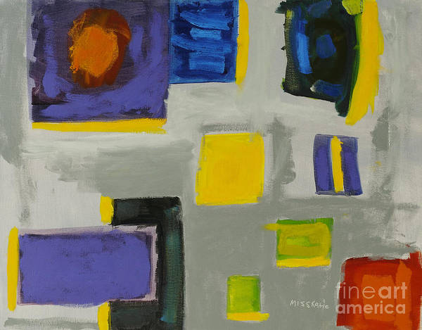 Abstract Poster featuring the painting Squares by Katie OBrien - Printscapes