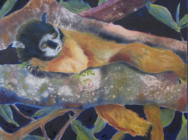Monkey Poster featuring the painting Squirrel Monkey Revised by Libby Cagle