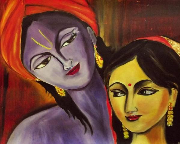 Sreekrishna And Radha Poster featuring the painting Sreekrishna With Radha by Sreekala Nambiar