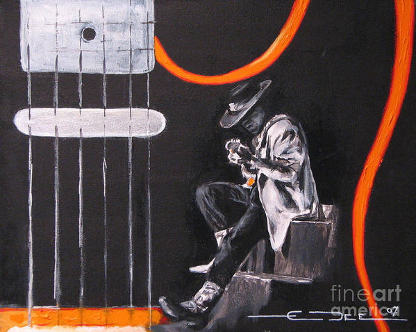 Stevie Ray Vaughn Poster featuring the painting Srv - Stevie Ray Vaughn by Eric Dee