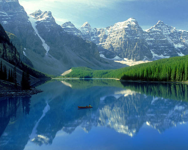Adulthood Poster featuring the photograph S.short Canoeist, Moraine Lake, Ab, Fl by Steve Short