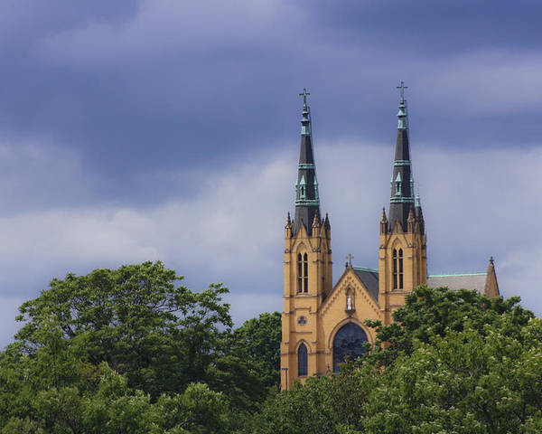 Saint Poster featuring the photograph St Andrews Catholic Church Roanoke Virginia by Teresa Mucha