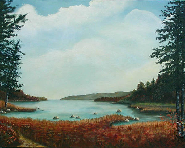 Original Acrylic Landscape Poster featuring the painting St Annes Bay Nova Scotia by Sharon Steinhaus