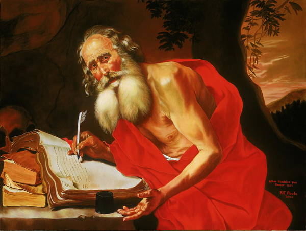 St. Jerome Poster featuring the painting St. Jerome In The Wilderness by Rebecca Poole