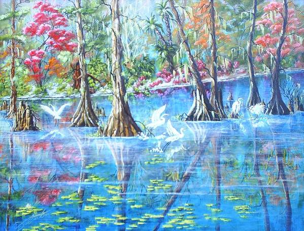 Florida Landscape Poster featuring the painting St. John by Dennis Vebert
