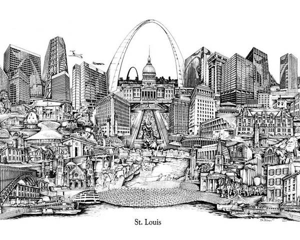 City Drawing Poster featuring the drawing St. Louis 4 by Dennis Bivens