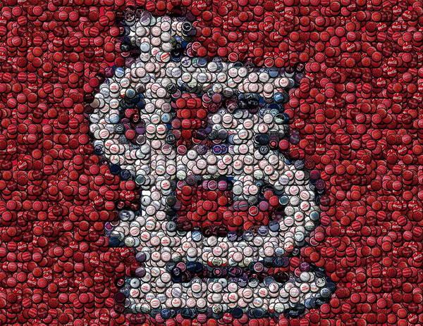 St. Louis Poster featuring the mixed media St. Louis Cardinals Bottle Cap Mosaic by Paul Van Scott