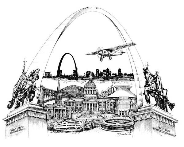 City Drawing Poster featuring the drawing St. Louis Highlights Version 1 by Dennis Bivens