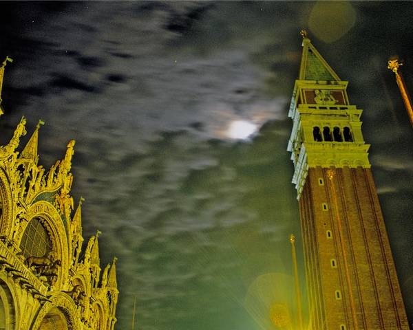 Venice Poster featuring the photograph St. Marks In Venice With Moon And Venus by Michael Henderson