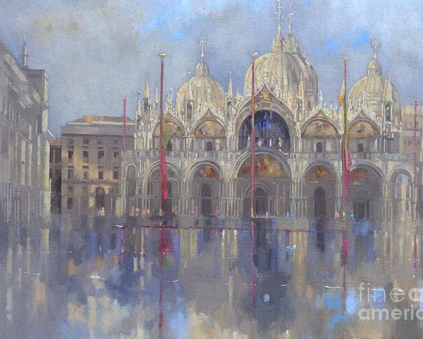 St. Mark's Square; Venice; Venetian Architecture; Italian; Basilica; Saint; Venetian; Facade; Domes; Dome; Rain Poster featuring the painting St Mark's -venice by Peter Miller