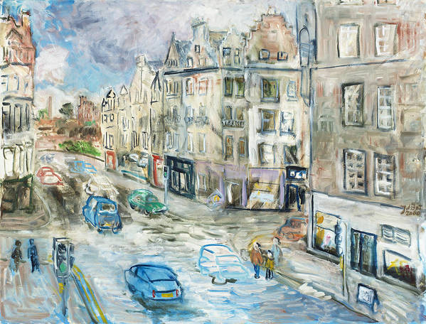 City View Street Edinburgh Scotland Cars People Traffic Pavement Sky Shops Windows Clouds Roofs Poster featuring the painting St. Mary's Street by Joan De Bot