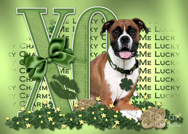 Boxer Poster featuring the digital art St Patricks Day - My Boxer Is Me Lucky Charm by Renae Laughner