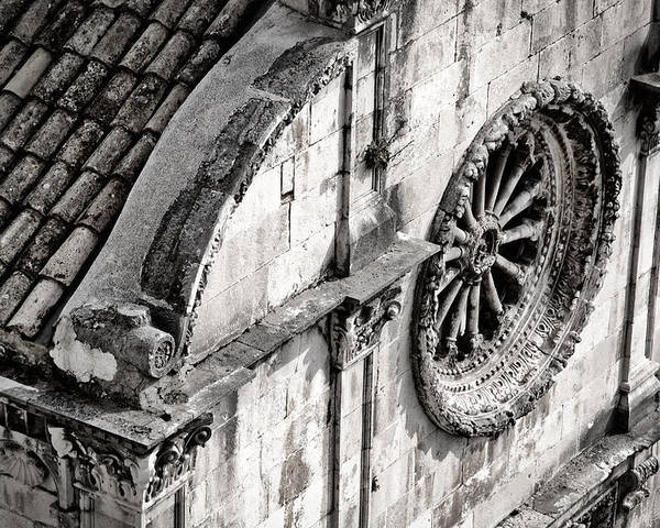 Dubrovnik Poster featuring the photograph St. Saviour Church Window - Black And White by Stuart Litoff