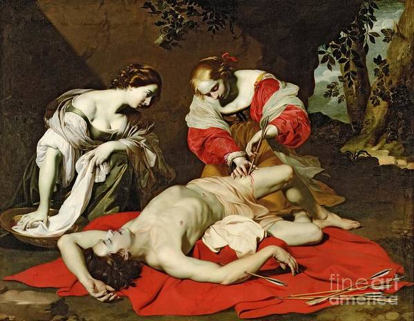Saint Poster featuring the painting St Sebastian Tended By The Holy Irene by Nicholas Renieri