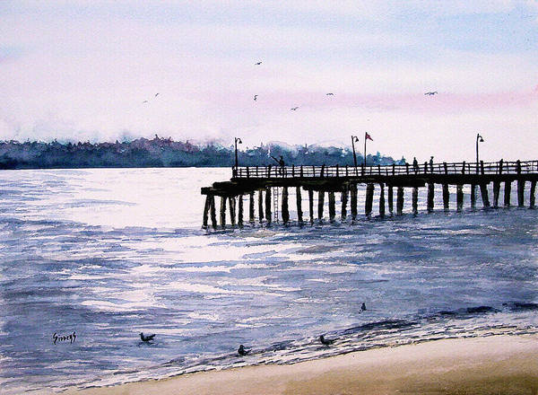 Fishing Poster featuring the painting St. Simons Island Fishing Pier by Sam Sidders